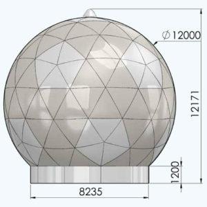 Радіопрозоре укриття антени 12м