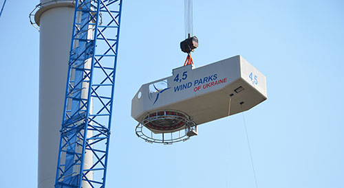 Installation of the  4.5 MW wind turbine's nacelle